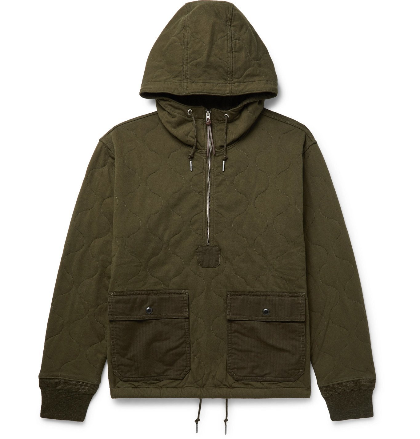 Photo: RRL - Quilted Cotton-Twill Hooded Half-Zip Jacket - Green