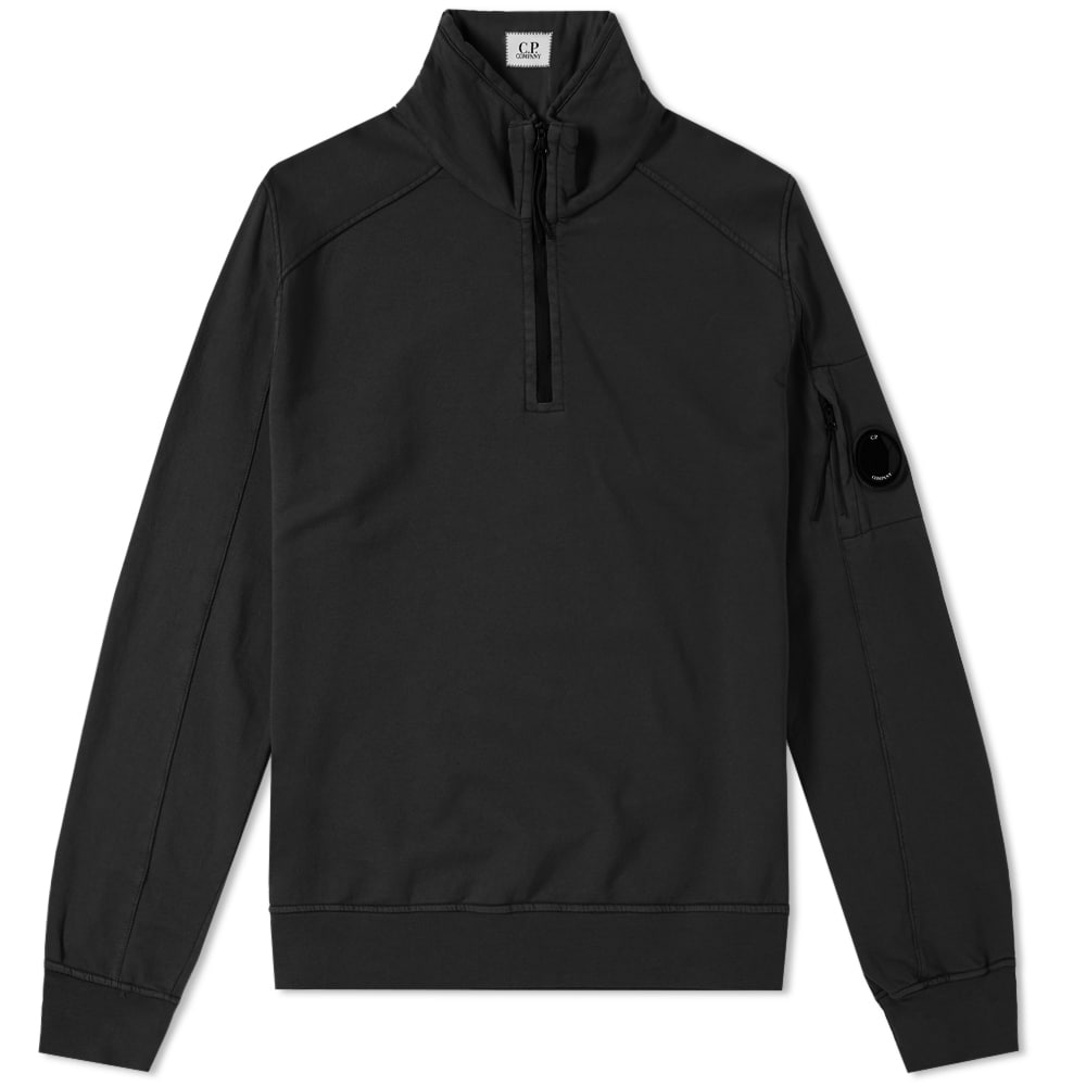 C.P. Company Garment Dyed Light Fleece Half Zip Sweat Black