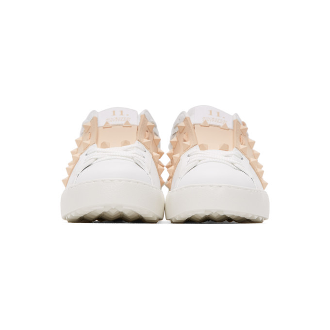 Valentino White and Beige Valentino Garavani Rockstud Untitled Open Sneakers