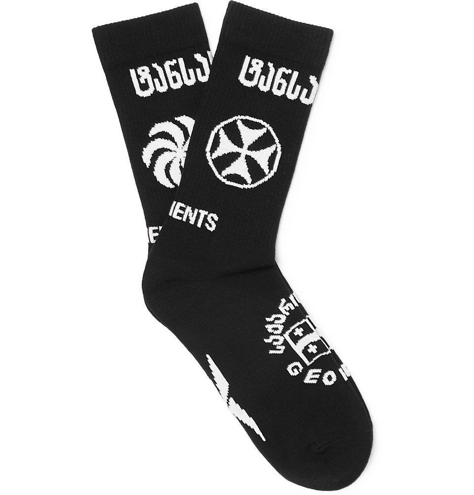 Photo: Vetements - Reebok Logo-Intarsia Stretch Cotton-Blend Socks - Black