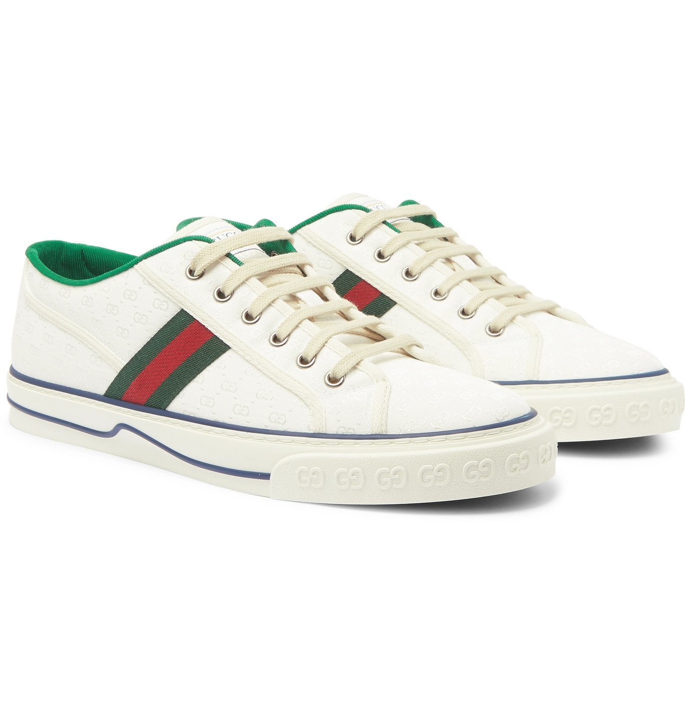 Photo: Gucci - Mignon Webbing-Trimmed Jacquard Sneakers - White