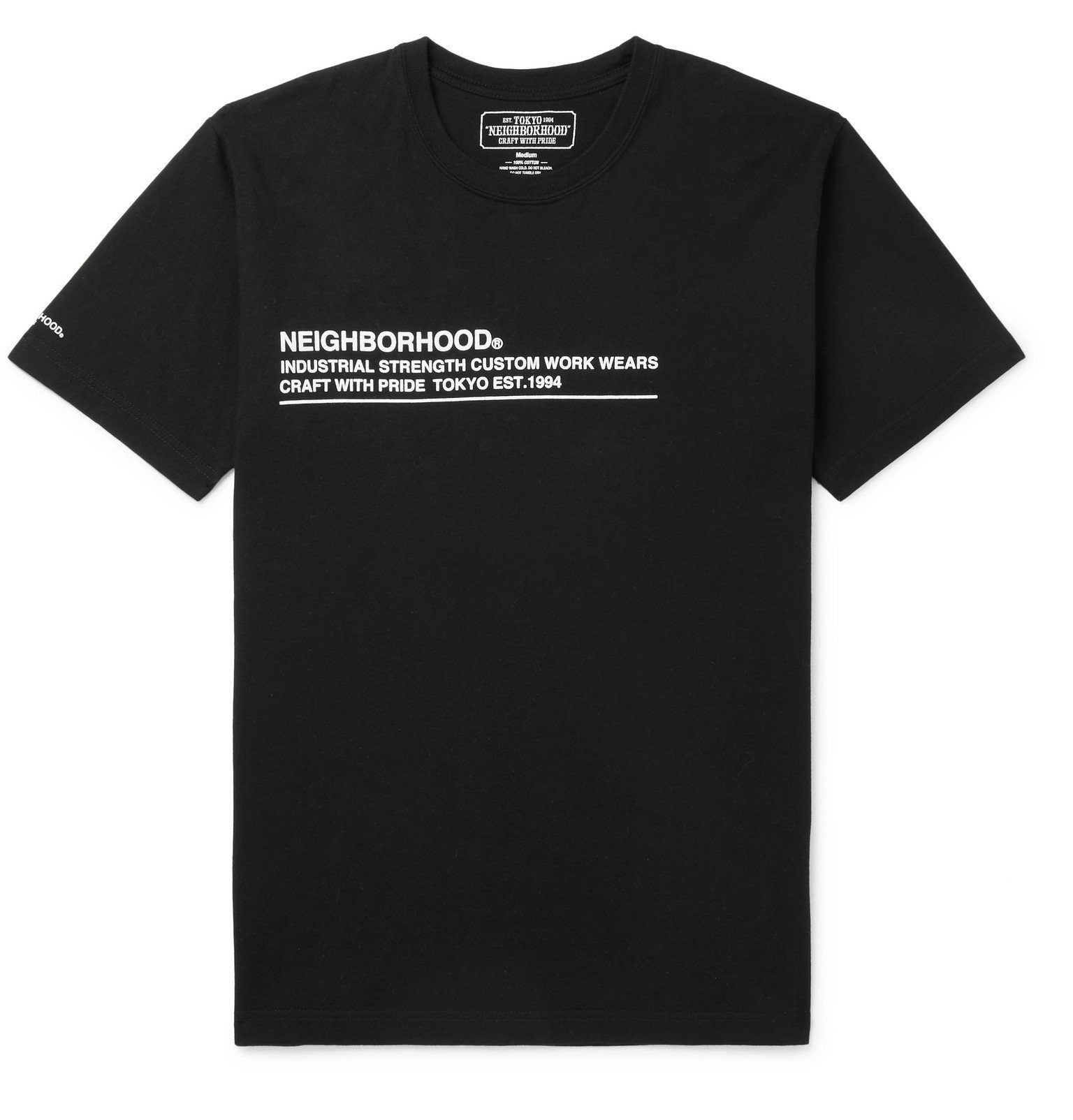 Photo: Neighborhood - Logo-Print Cotton-Jersey T-Shirt - Black