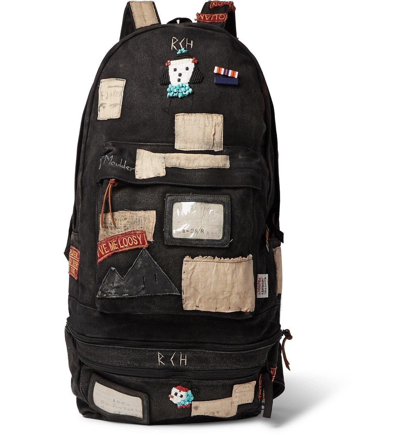 KAPITAL - Distressed Appliquéd Canvas Backpack with Detachable Belt Bag - Black