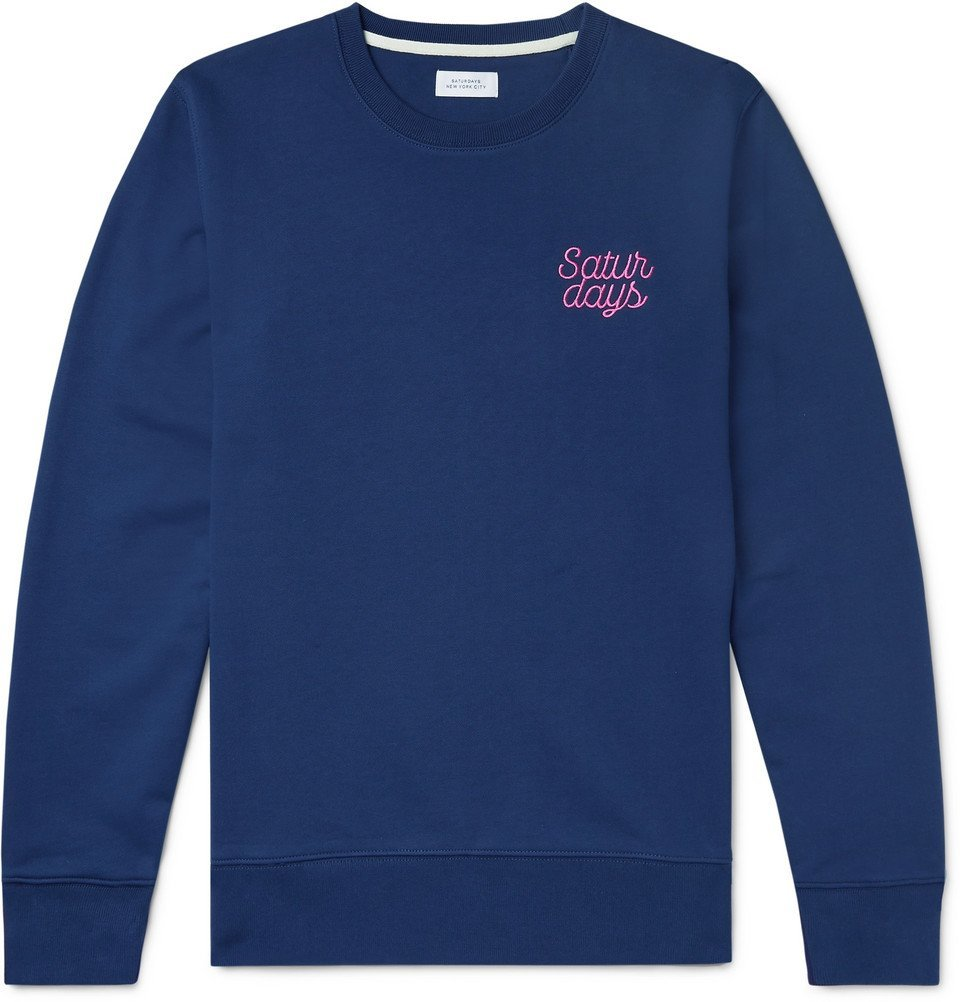 Photo: Saturdays NYC - Bowery Logo-Embroidered Loopback Cotton-Jersey Sweatshirt - Cobalt blue