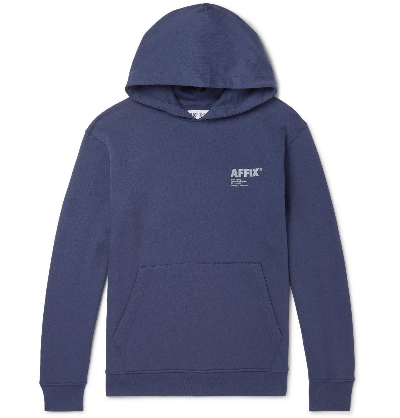 Photo: AFFIX - Logo-Print Fleece-Back Cotton-Jersey Hoodie - Blue