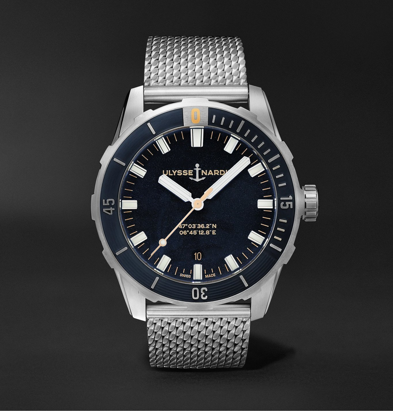 Photo: Ulysse Nardin - Diver Automatic 42mm Stainless Steel Watch, Ref. No. 8163-175-7M/92 - Blue