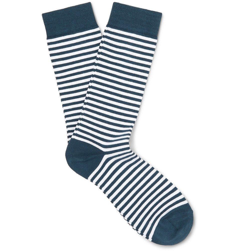 Sunspel - Striped Stretch Cotton-Blend Socks - Navy