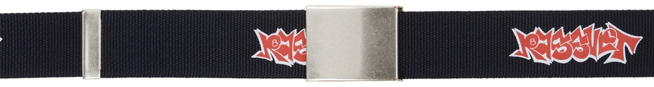 Photo: Rassvet Navy Graffiti Logo Print Webbing Belt