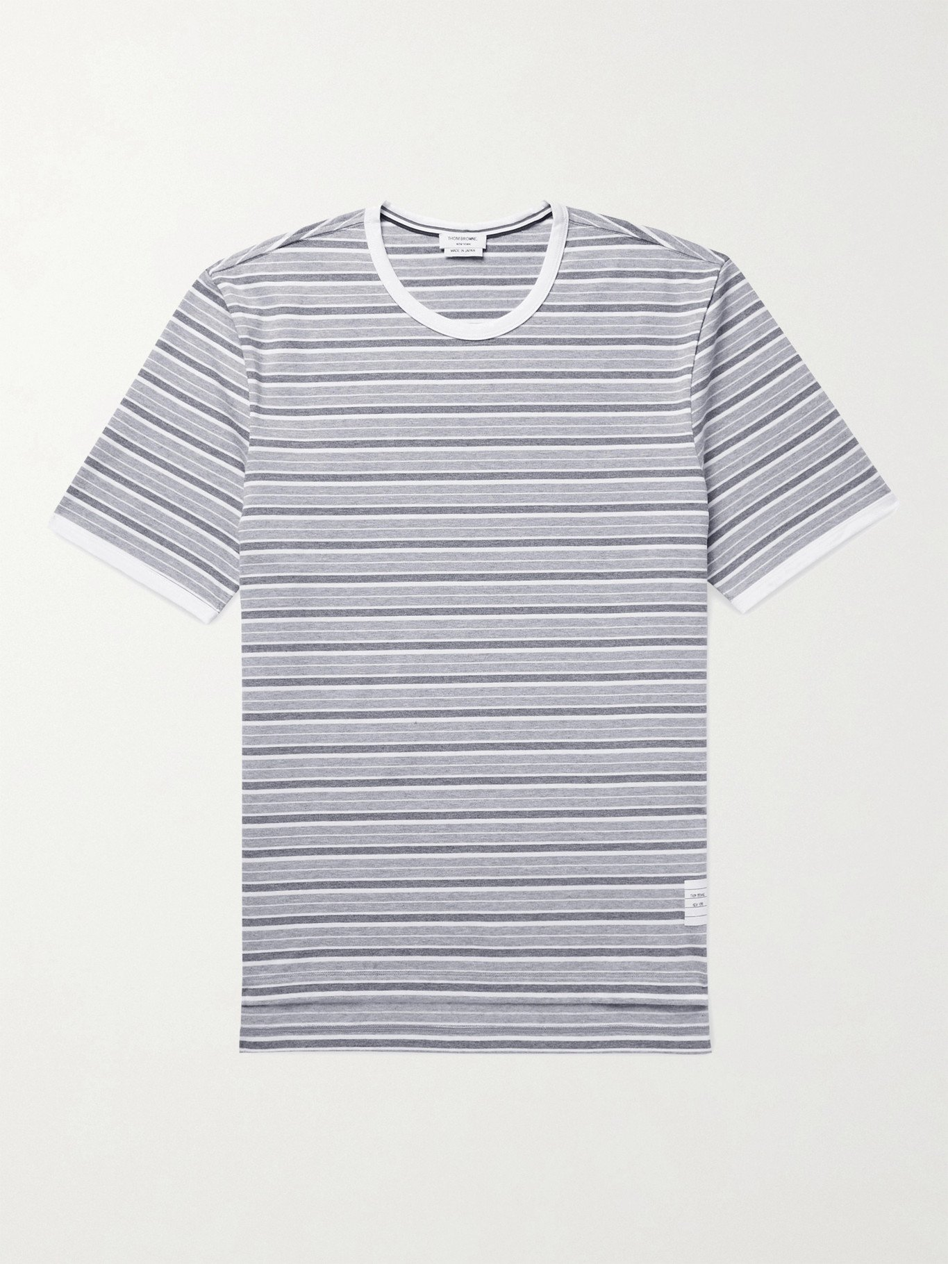 Photo: THOM BROWNE - Grosgrain-Trimmed Striped Cotton-Jersey T-Shirt - Gray