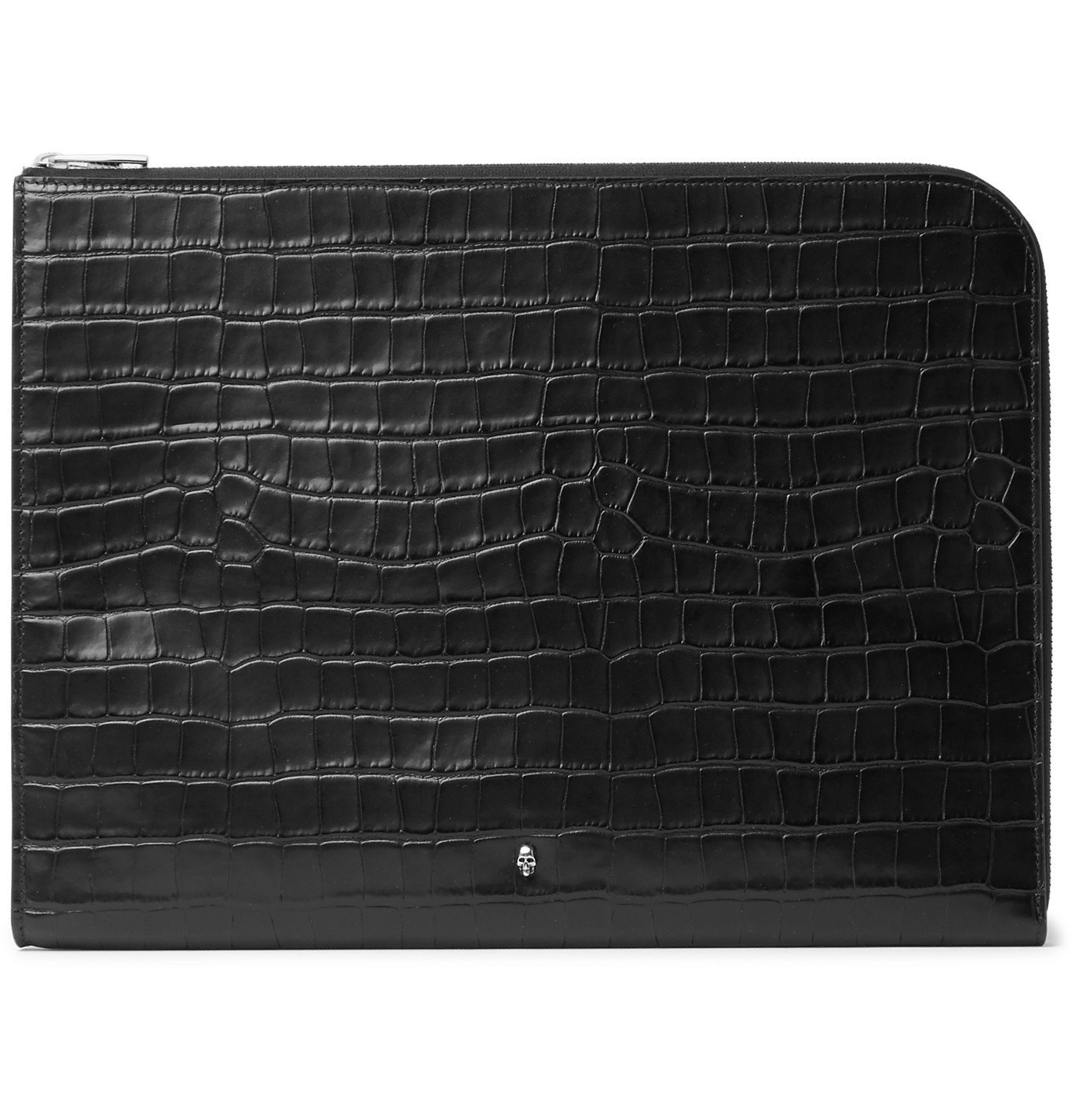 Photo: Alexander McQueen - Embellished Croc-Effect Leather Pouch - Black