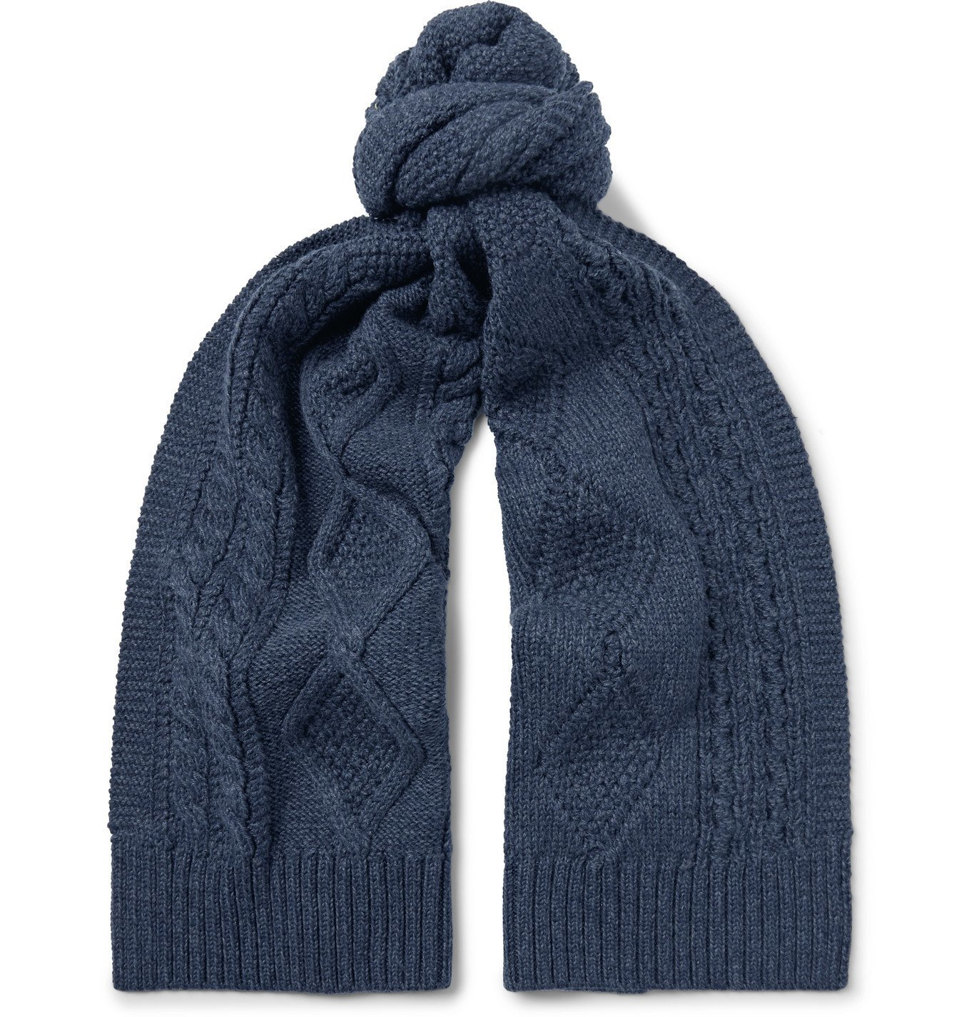 RRL - Cable-Knit Wool Scarf - Blue