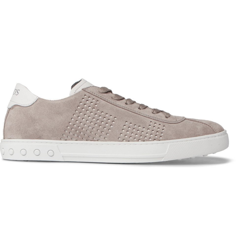 Tod's - Perforated Suede and Leather Sneakers - Men - Gray