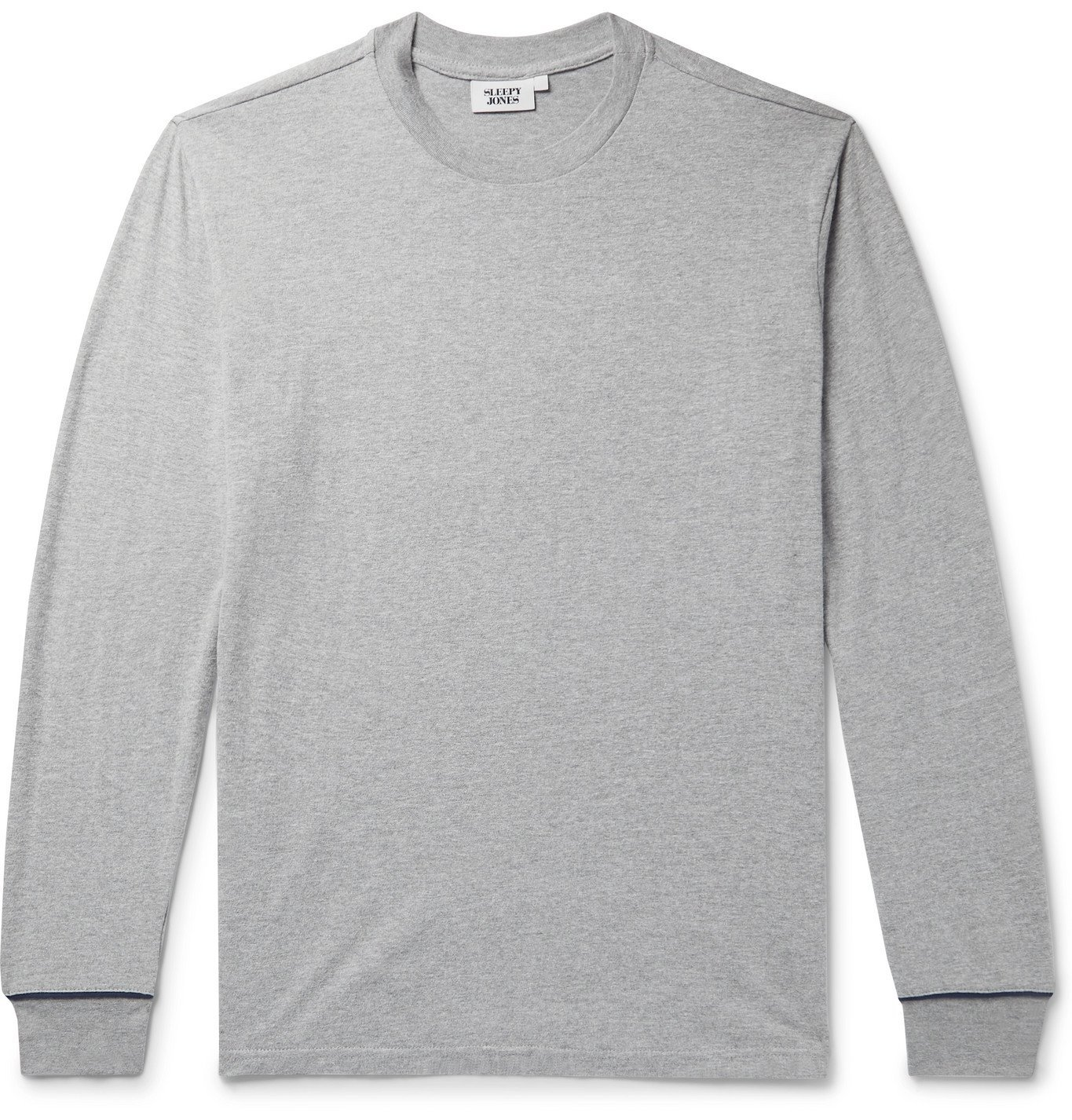 Photo: Sleepy Jones - Powell Cotton-Blend Jersey Pyjama T-Shirt - Gray