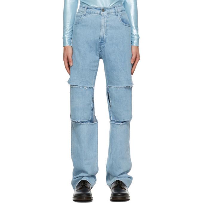 Photo: Raf Simons Blue Uneven Knee Patch Jeans