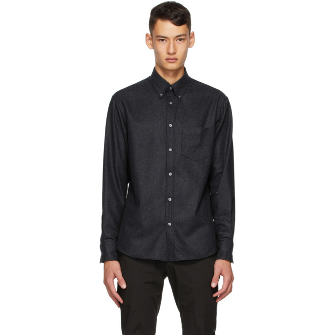 Dunhill Black Wool Flannel Shirt