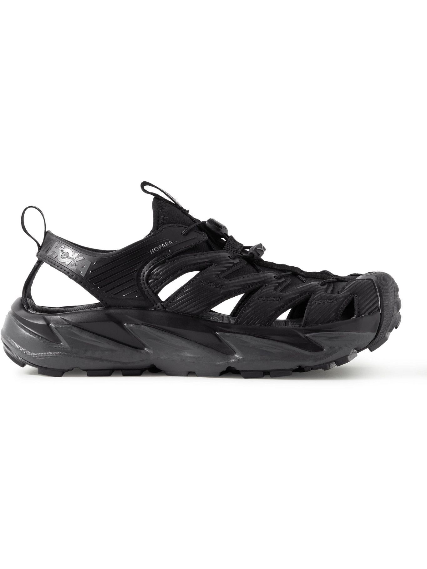 Photo: Hoka One One - Hopara Rubber-Trimmed Faux Leather and Neoprene Hiking Shoes - Black