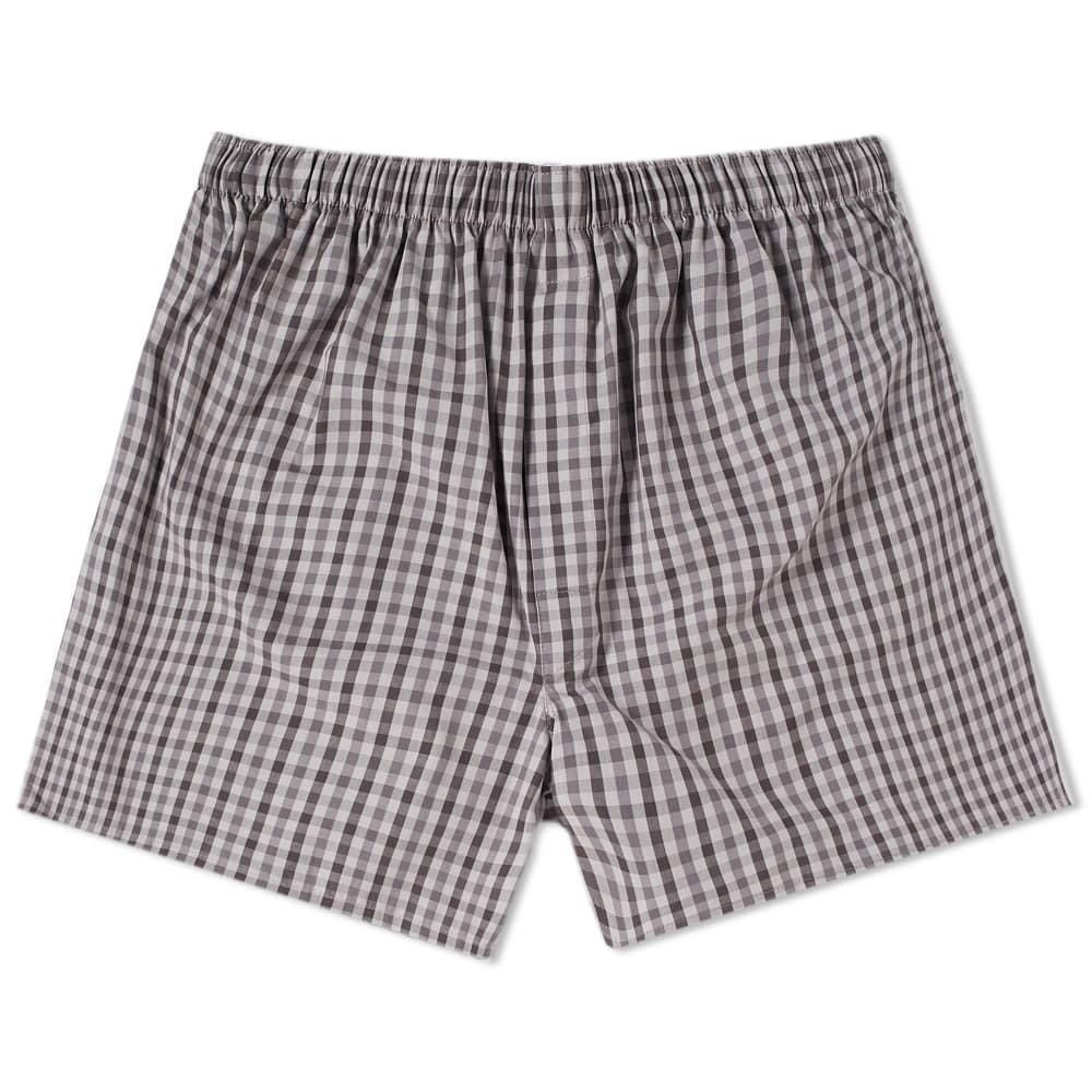 Sunspel Gingham Boxer Short Grey
