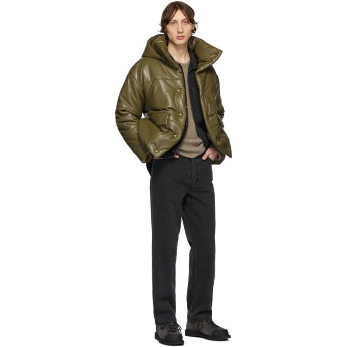Nanushka Khaki Vegan Leather Jacket