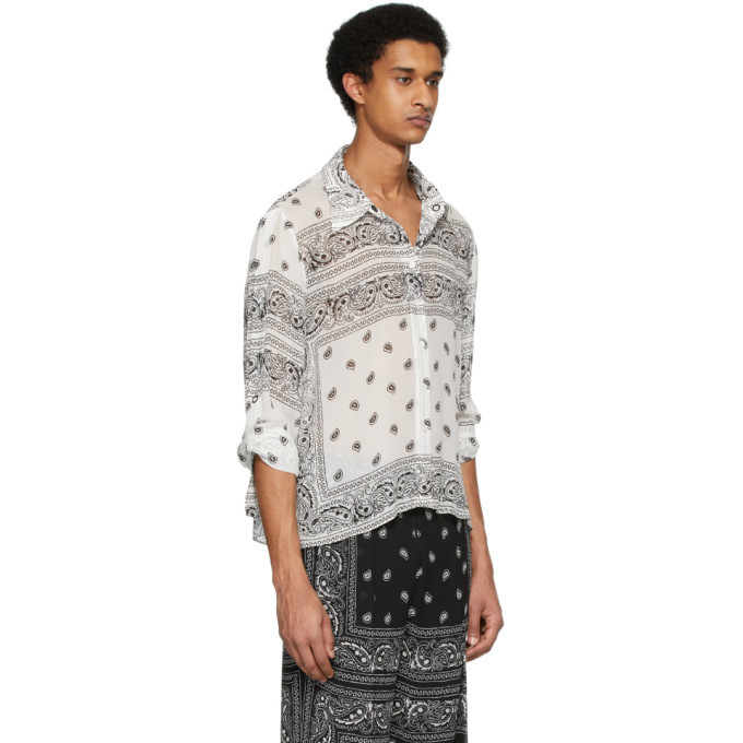 Dion Lee White and Black Paisley Shirt
