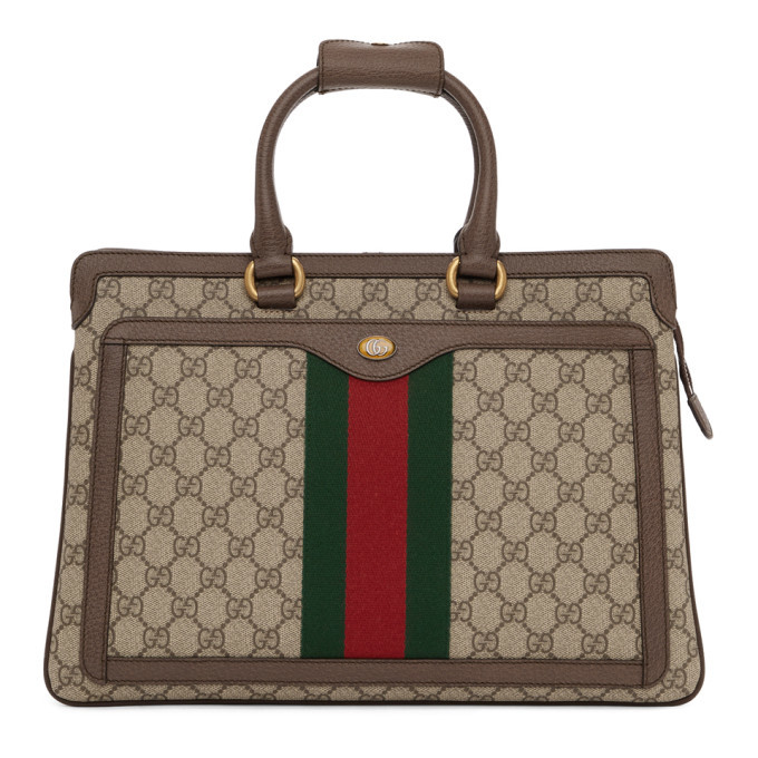 fbc299e220ef Gucci Signature Backpack Monogram GG Front Zipper Pocket Embossed ...