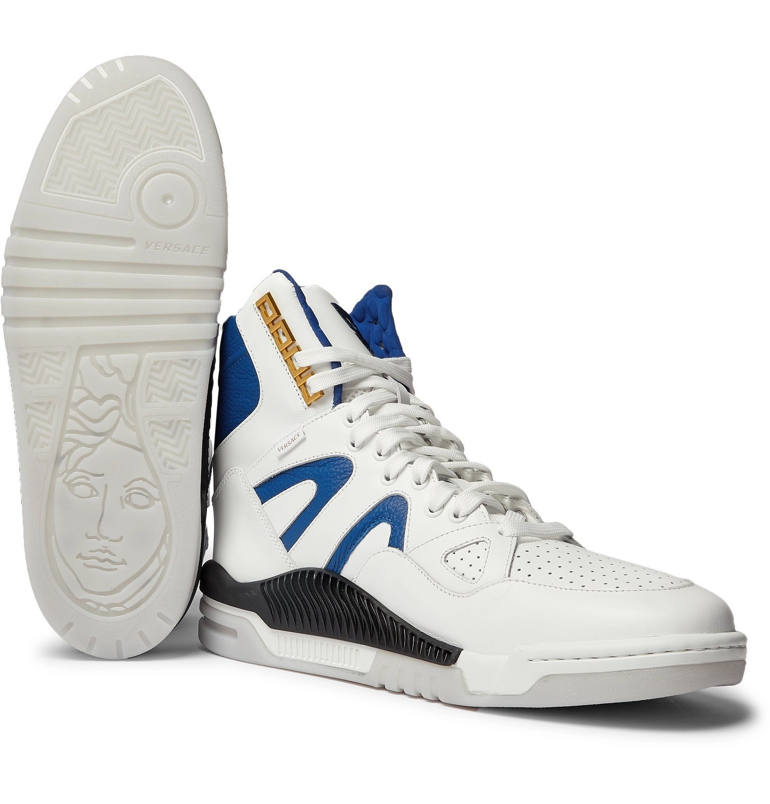 Versace - Panelled Leather High-Top Sneakers - White