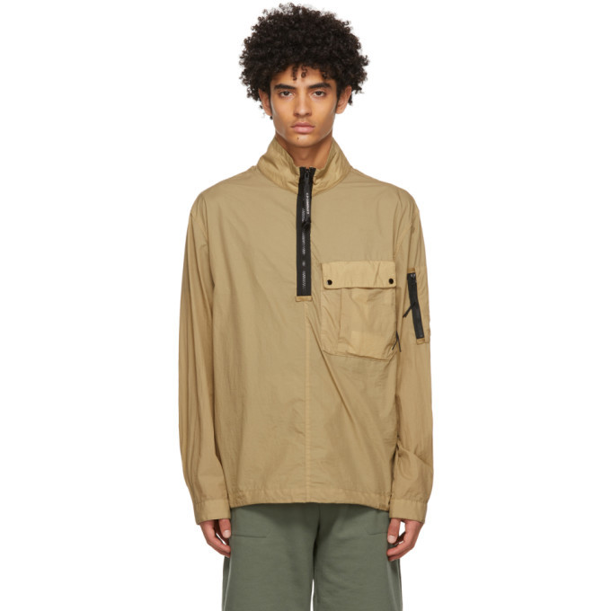 Photo: C.P. Company Beige Taylon L Mixed Overshirt