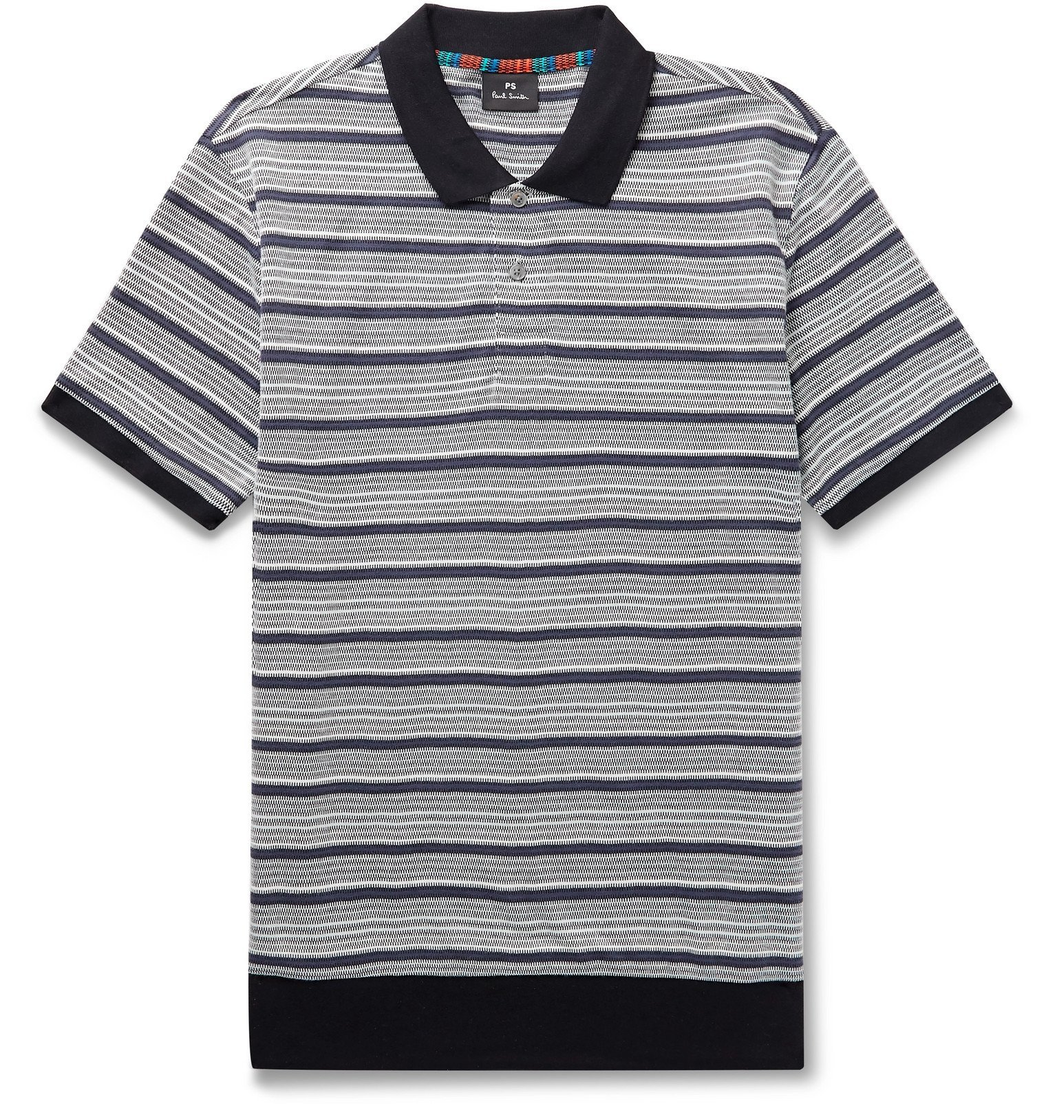Photo: PS Paul Smith - Contrast-Trimmed Cotton-Blend Jacquard Polo Shirt - Black