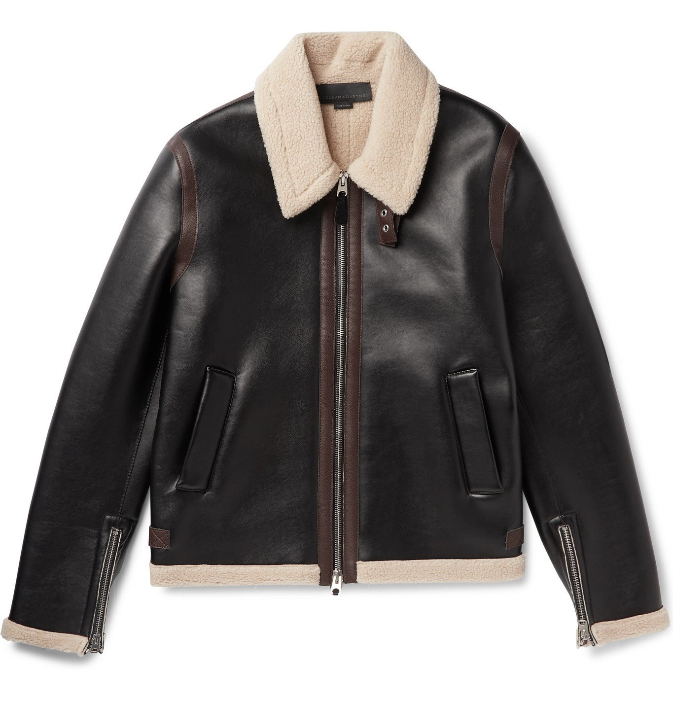 Photo: Stella McCartney - Lionel Faux Shearling-Trimmed Faux Leather Jacket - Brown