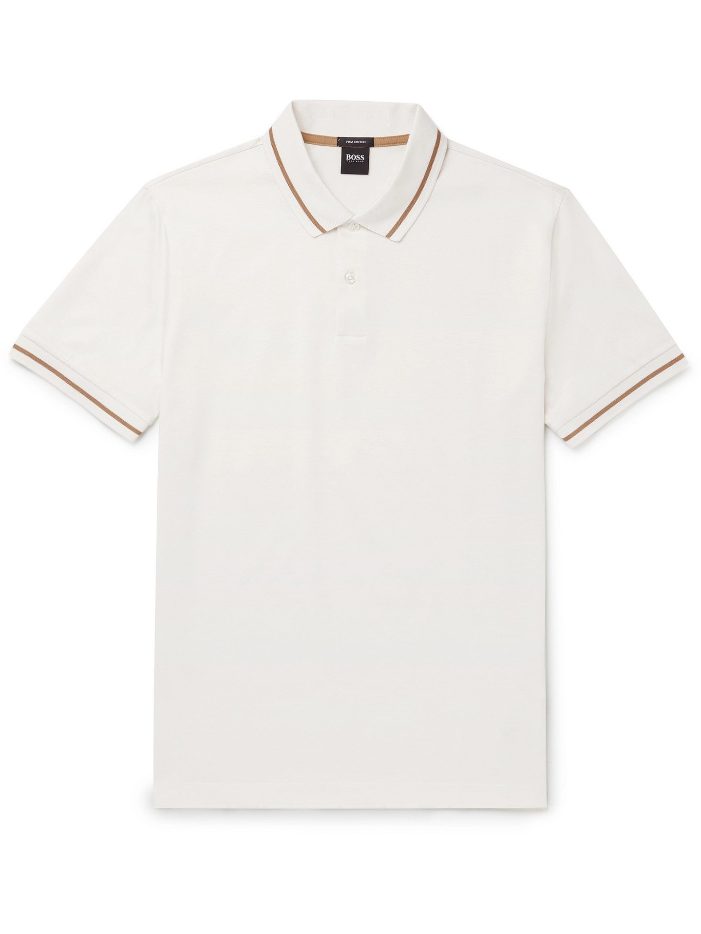 HUGO BOSS - Parlay Contrast-Tipped Cotton-Jersey Polo Shirt - White