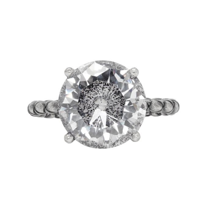 Bottega Veneta Silver Intrecciato Crystal Band Ring