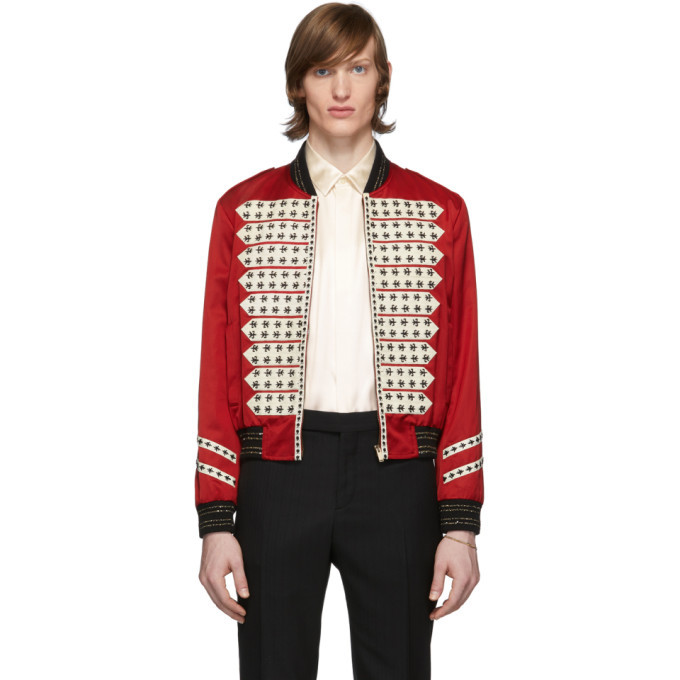 Photo: Saint Laurent Red Satin Vintage Teddy Bomber Jacket