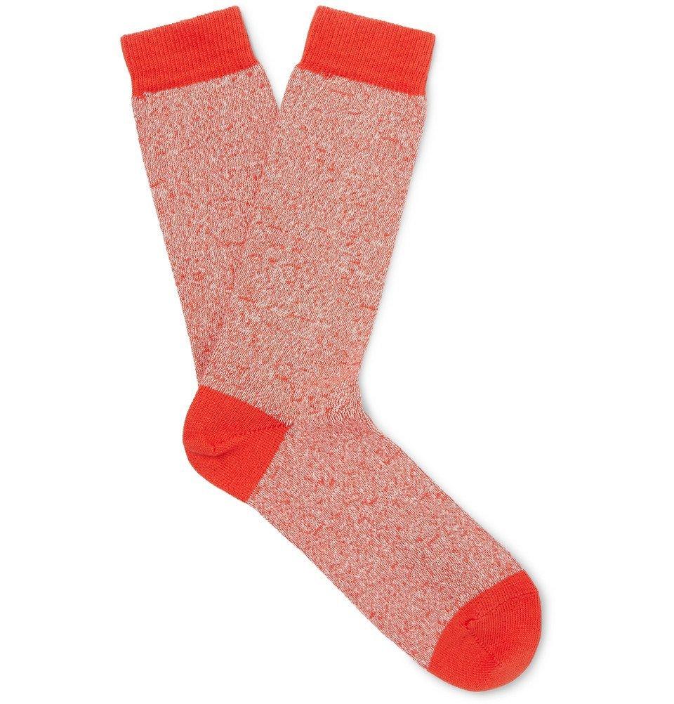 Photo: Sunspel - Mélange Organic Cotton-Blend Socks - Red