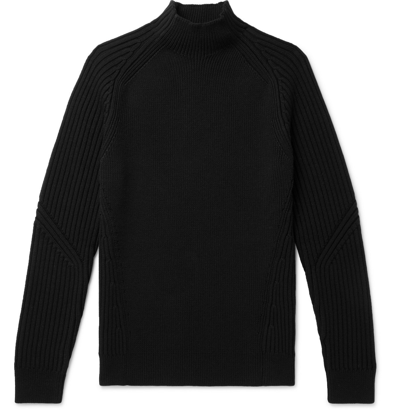 Photo: Dunhill - Ribbed Wool Mock-Neck Sweater - Black