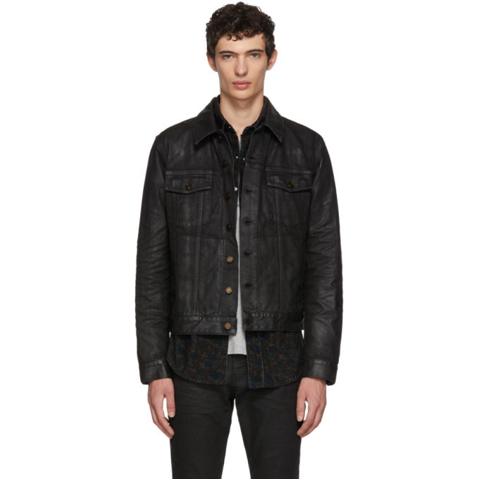 Photo: Saint Laurent Black Coated Denim Jacket
