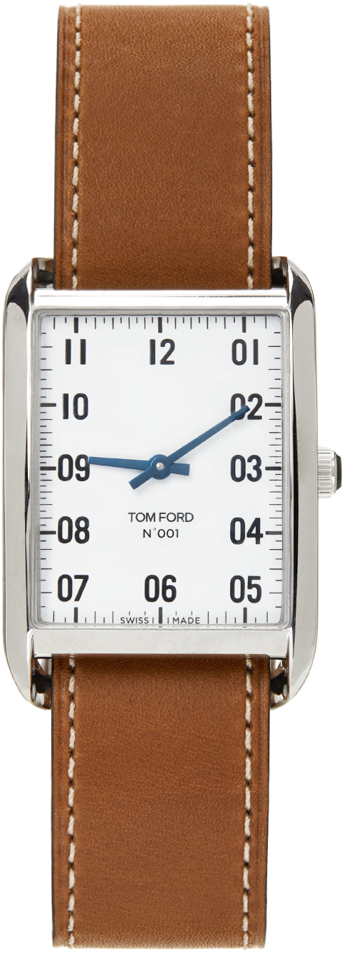 Photo: TOM FORD Brown & Silver Leather 001 Watch