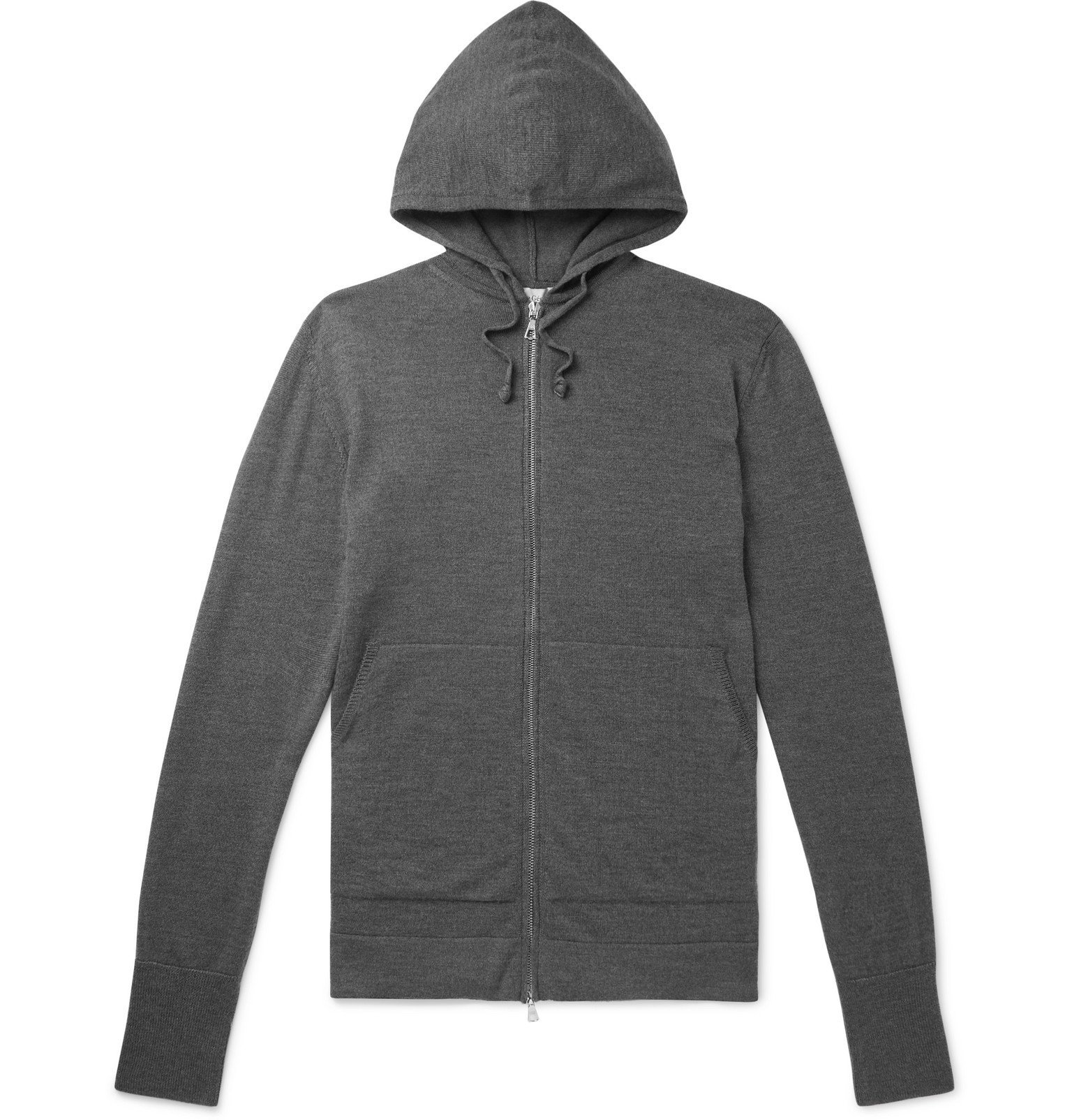 Photo: Officine Generale - Mélange Virgin Wool Hoodie - Gray