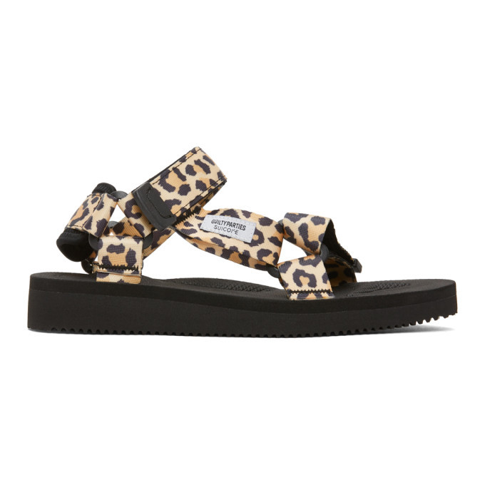 Photo: Wacko Maria Beige and Black Suicoke Edition Leopard Beach Sandals
