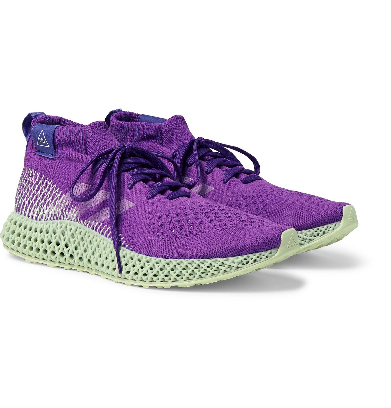 Photo: adidas Consortium - Pharrell Williams 4D Runner Embroidered Primeknit Sneakers - Purple