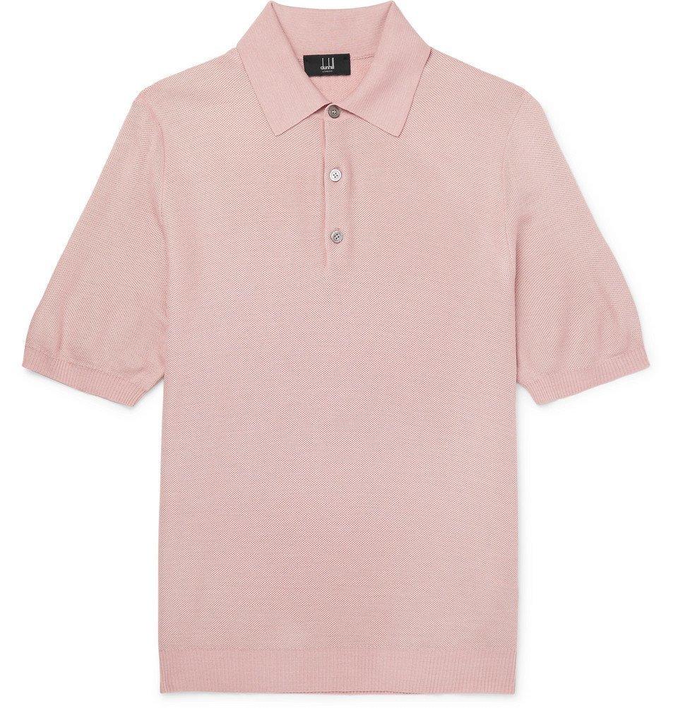 Dunhill - Silk-Mesh Polo Shirt - Men - Pink