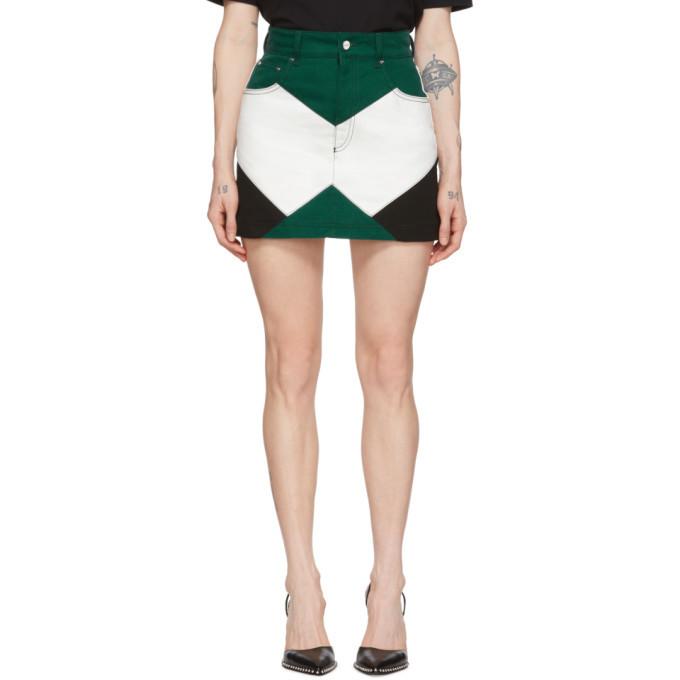Photo: Kirin Green and White Denim Combo Moto Miniskirt
