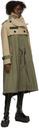 Sacai Khaki & Beige Wool Melton Coat