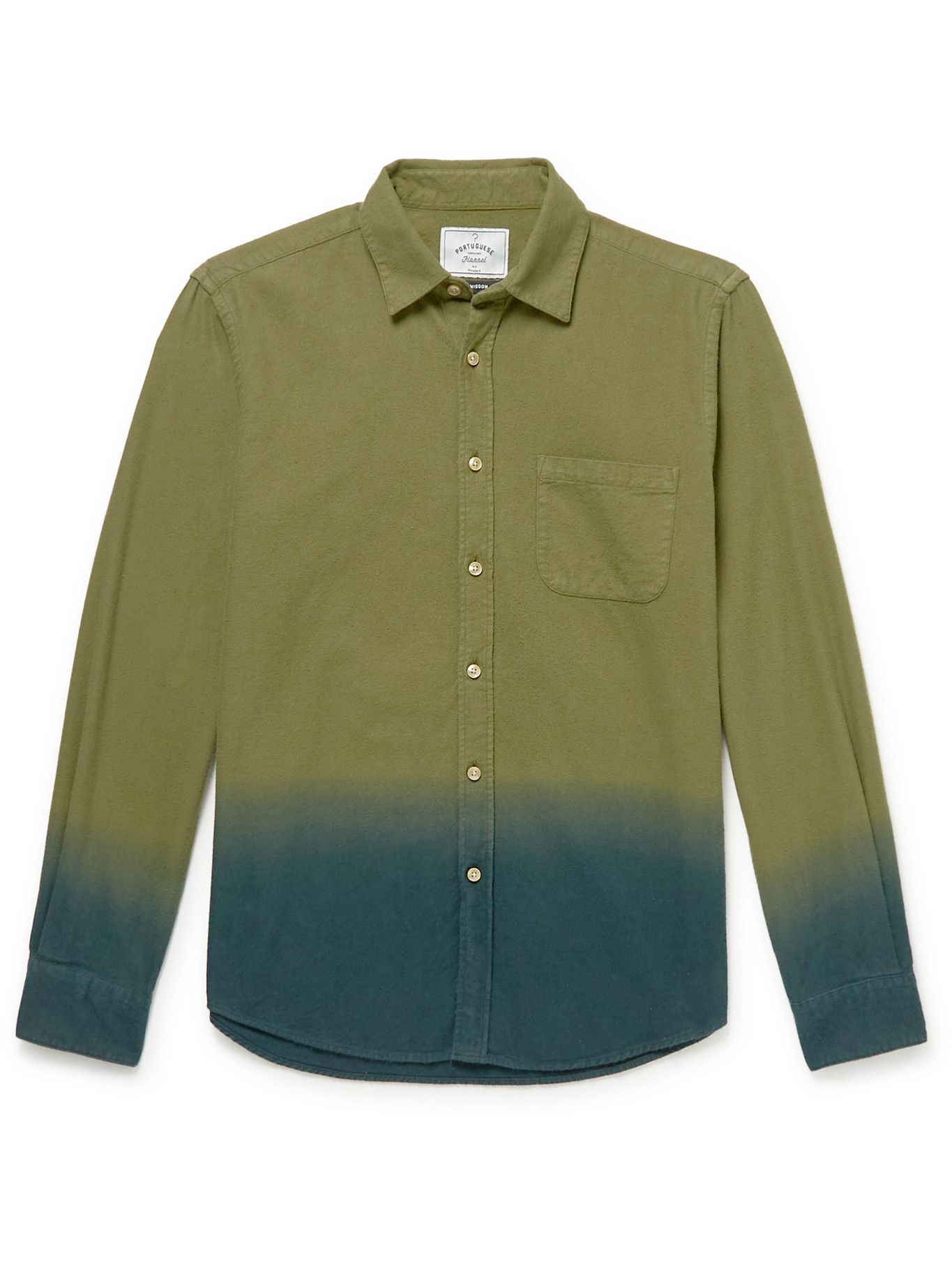 Photo: Portuguese Flannel - Dip-Dyed Cotton-Flannel Shirt - Green