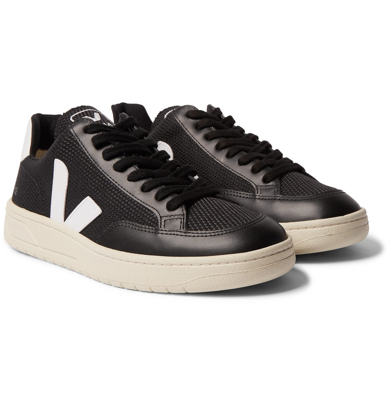 Photo: Veja - V-12 Leather-Trimmed B-Mesh Sneakers - Black