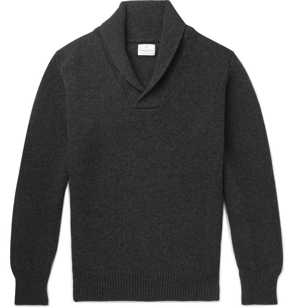 Photo: Kingsman - Shawl-Collar Wool and Cashmere-Blend Sweater - Charcoal