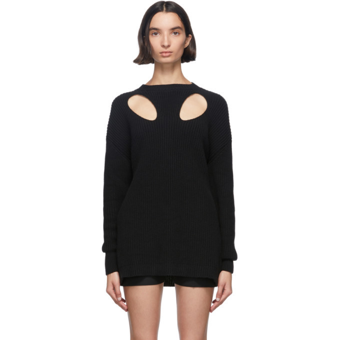 Photo: Ann Demeulemeester Black Cut-Out Hawke Crewneck Sweater