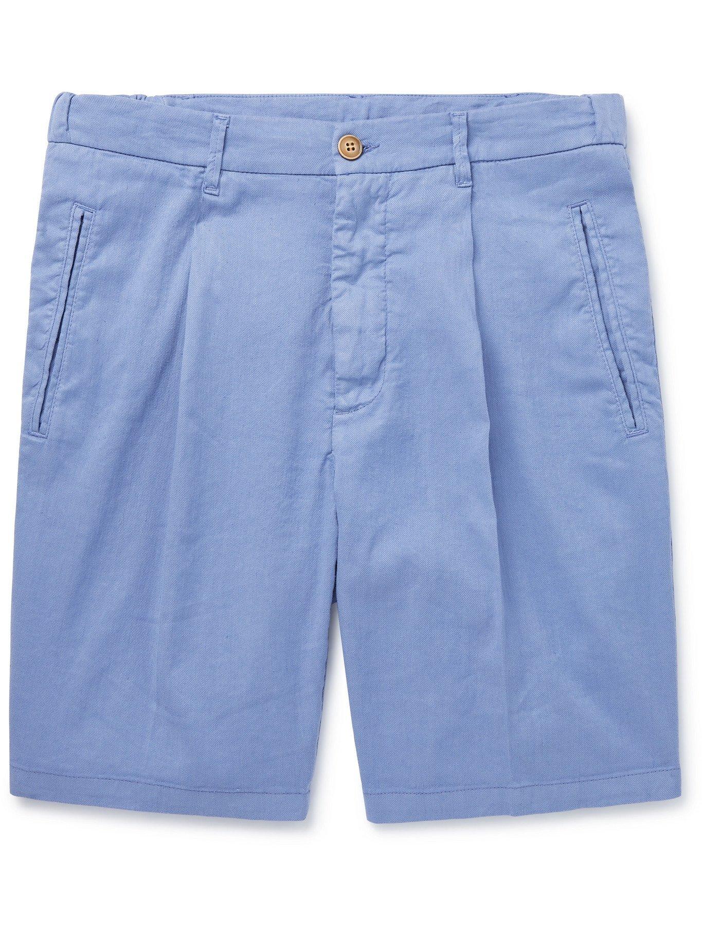 Photo: ALTEA - Slub Linen-Blend Shorts - Blue