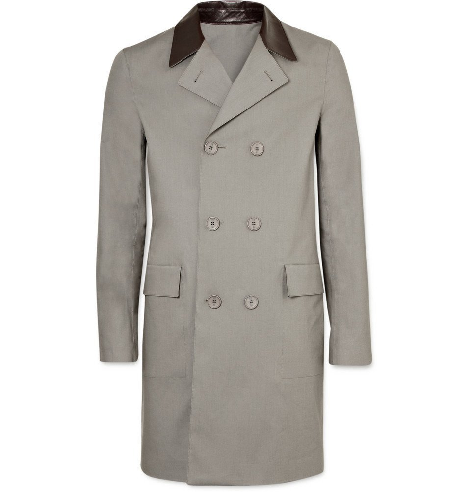 Photo: Balenciaga - Leather Trim Raincoat - Men - Anthracite
