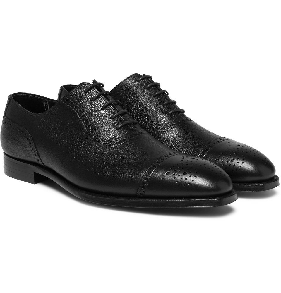 Photo: George Cleverley - Adam Pebble-Grain Leather Oxford Brogues - Black