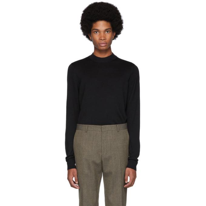 Sunspel Black Merino Mock Neck Sweater