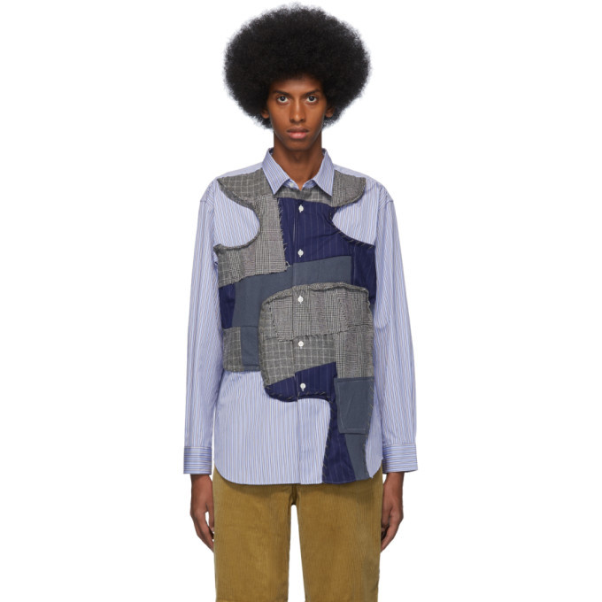 Photo: Comme des Garcons Shirt Blue Stripe Multifabric Shirt